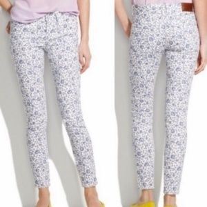 MADEWELL Ankle Skinny White/Blue Floral Jeans - 29